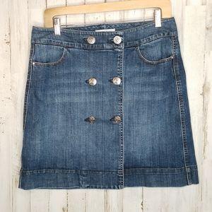 White House Black Market Denim Button Mini Skirt